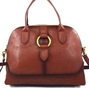 Frye Ring Dome Satchel Cognac genuine  Leather